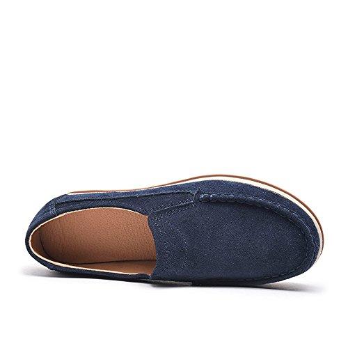 NEOKER Mocassini Donna in Pelle Scamosciata Moda Comode Loafers Scarpe da Guida Ginnastica con Zeppa 5 cm Estivi Nero Blu Cachi 35-42 Blu
