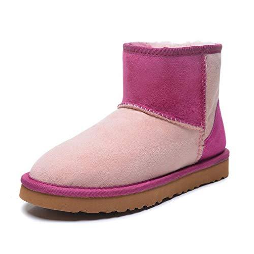 Hy Damen Stiefel, Winter Warm Windproof Plus Cashmere Schneestiefel, Damen Outdoor-Übung Snowsports Ski-Schuhe Winterstiefel Größe: 35-40 (Farbe : Rosa, Größe : 40)