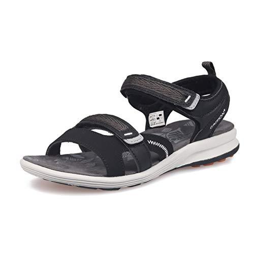 GRITION Damen Wandern Sandalen, Frauen Outdoor Sport Wasser Schuhe Sommer Flach Cross-Tied Beach Wanderschuhe Open Toe Verstellbare Klettverschluss Leichte Walking Wandersandalen (39 EU, Black) -