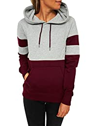 Blooming Jelly Women's Long Sleeve Hoodie Pullover Sweatshirt Patchwork Striped Jumper with Kanga Pocket Top