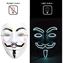 V para Vendetta LED Mask Guy Fawkes Anonymous Party Mask Halloween Light Up Unisex Mask 8
