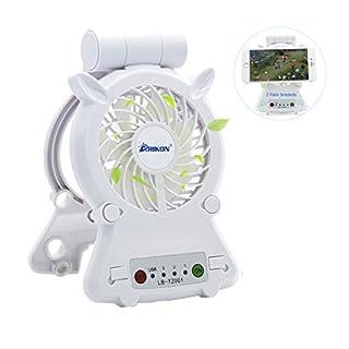 Arikon® Multifunktionale Portable 3 Geschwindigkeiten Mini USB Fan, Universal Handy Tablet gekühlt Heizkörper Halterung unterstützt von 18650 Akku und USB-Kabel für Innen- und Außeneinsatz (18650 Akku inklusive) weiß