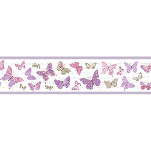 Stirnband für Wand mit Schmetterlinge Lila, Pink und Taupe auf Boden Weiß mit Schriftzug in Kursivschrift Pretty Lili–PrLi 69114055