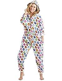 Camille - Combinaison pyjama - motif pattes de chien colorées - femme - blanc