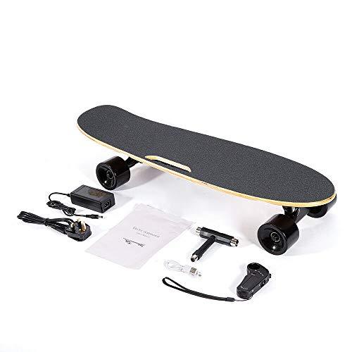 SENDERPICK Elektro Skateboard Longboard, E Skateboard mit Fernbedienung, Ultra Dünn, für Kinder & Jugendliche 20km/h 350W EU-Stecker
