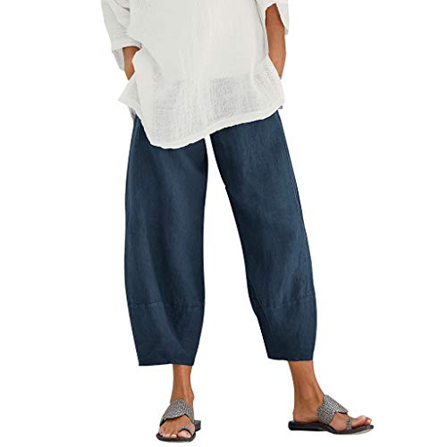 rem Hippie Solid Einfarbig Loose Long Casual High Waist Elastisch Costume Funny Cool Mode Saggy Crop Trousers (4XL,Marine) ()