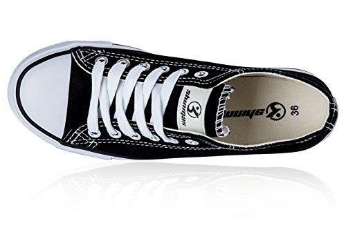 Shinmax New Unisexe Low Cut Chaussure en Toile Toute Saison Lace-Ups Chaussures Baskets Casual pour Basket Toile Femme et Homme Noir