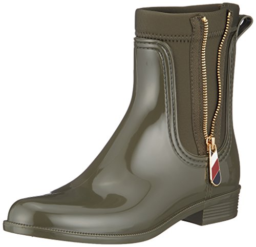 Tommy Hilfiger Damen Material Mix RAIN Boot Gummistiefel, Grün (Military 302), 38 EU