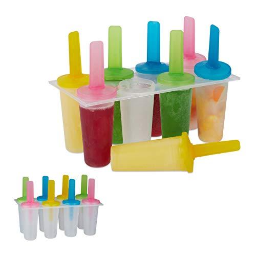 16 x Eisformen, runde Eisförmchen, bunte Stiele, DIY, Stieleisformen, Kinder & Erwachsene, rund, Popsicles, transparent