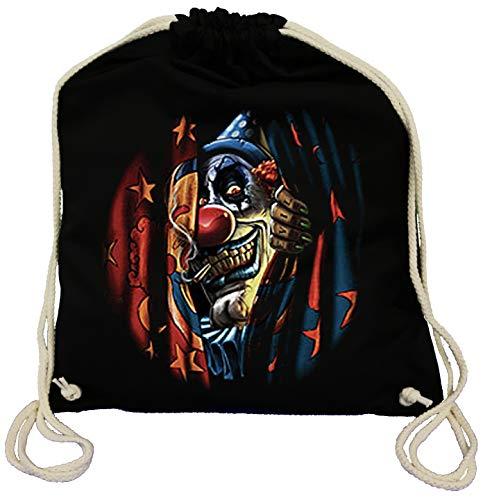 us Clown - Clown Turnbeutel für Kinder und Erwachsene - Gothicmotiv Tasche Fun Party&Freizeit Lifestyle, schwarz ()