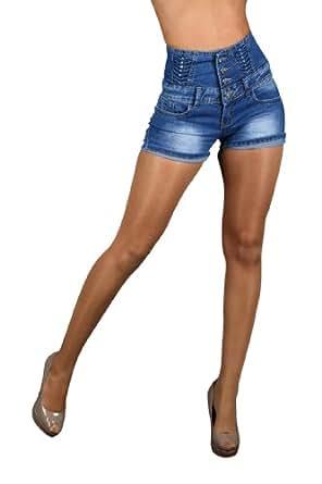 5657 Fashion4Young Damen Hot Pants Hotpants Jeans Shorts Kurze Hose verfügbar in 5 Größen (XL)