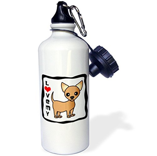 Gift for Kids Girl Boy, I Love My Chihuahua Tan Stainless Steel Water Bottle for School Office Travel 21oz (Black Tan Chihuahua)