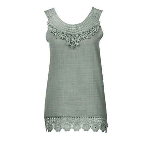 OverDose Damen Frauen Sommer O-Neck ärmellos Feste Spitze Plus Größe Weste Tops Lose T-Shirt Bluse Freizeit Oberteile Tees Camisole(Grün,EU-36/CN-S) (Stretch-spitzen-4 Stück)