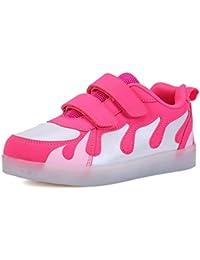 DoGeek Zapatos Led Niños Niñas Negras Blanco 7 Color USB Carga LED Zapatillas Luces Luminosos Zapatillas Led Deportivos Para Hombres Mujeres (Elegir 1 tamaño más grande)