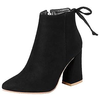 Spitze Zehen Damen High Heel Stiefeletten Von BIGTREE Bequem Casual Blockabsatz Kurzschaft Stiefel Schwarz 47 EU