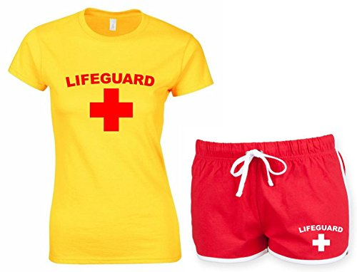 Lifeguard Ladies Yellow T-Shirt & Red Shorts. Sizes 6 to 16