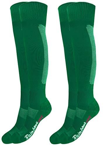 Rainbow Socks - Jungen Mädchen Fußball Soccer Kniestrümpfe - 2 Paar - Grün - Größen: Kinder EU 30-35