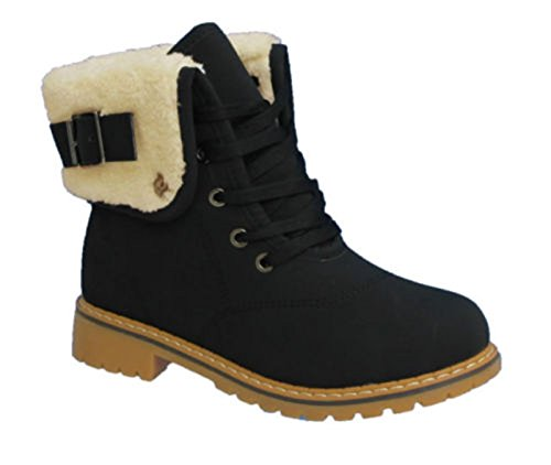 ladies-womens-army-combat-flat-grip-sole-fur-lined-lace-up-winter-ankle-boots-shoes-size-uk-6-eu-39-