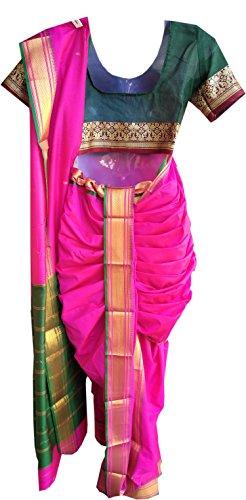 JAY VITHAI TRADITION Mastani/Peshvai Nauvari Pink Silk Saree Ready 2 Wear