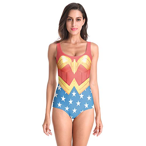 Kostüm Wonder Small - QQWE Damen Kostüm Kleidung Wonder Woman Cosplay Badeanzug Super Hero Battle Suit Damen Badeanzug Backless Beachwear,A-S