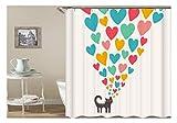 Knbob Vorhänge Badezimmer Fenster Katze Und Herz Bunt Duschvorhang Mit Duschvorhangringen Herz A 150X180Cm