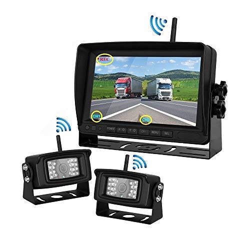 WeniChen Kabellose Rückfahrkamera mit Monitorsystem, 17,8 cm (7 Zoll) kabelloser Rückfahr-Monitor + IP67 Wasserdichte kabellose Kamera für Wohnmobil LKW Anhänger schwere Box LKW Wohnmobil