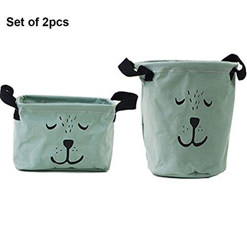 Inwagui Stoff Aufbewahrungsbox aus Baumwolle 2 Stück Aufbewahrungsbox, Aufbewahrungskorb aus Stoff Für Badezimmer Haushalt-Grün (Dia-box Organizer)