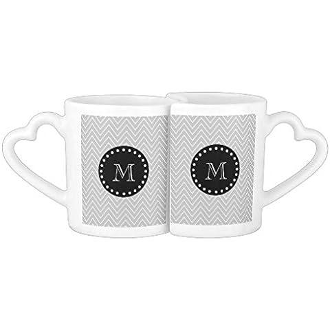 Tazas de café personalizada gris y negro moderno Chevron monograma seriesel juego de taza de café