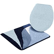 Juego de 2suspendida de piezas WC de baño Leon estampado gráfico en azul tamaño 10: 55x 50cm