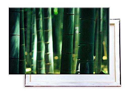 Bambus mit Chinesischen Zeichen - 120x80 cm - Bilder & Kunstdrucke fertig auf Leinwand aufgespannt und in erstklassiger Druckqualität - Insel Bambus-rahmen