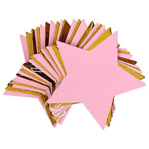 KANKOO Stern Banner Sterne Girlande Geburtstag Party Bunting Urlaub Banner Dekoration Hochzeit Geburtstag Baby Shower Urlaub Partydekorationen Liefert Party DIY Dekorationen pink (Urlaub Banner)