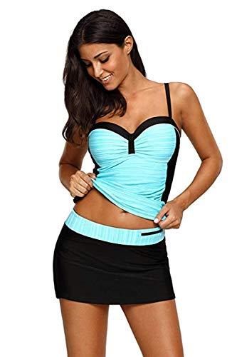 Aleumdr Damen Tankini mit 4 Farben Mehrfarbig Two Piece Bunten Streifen Tankini print Schwimmanzug Schwarz XXX L -