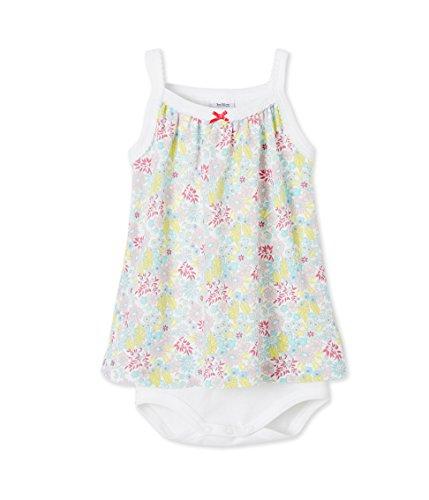 Petit Bateau Baby-Mädchen Kleider Body robe_23522, Mehrfarbig (Ecume/Amandelium/Multico 80), (12m/74cm)