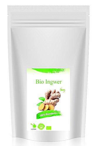 GutFood – 1000g Bio Ingwer gemahlen – 1kg Bio Ingwerpulver - Premium Ingwer Pulver aus kontrolliert biologischem Anbau in Spitzenqualität