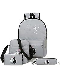 Espeedy Mochila de la escuela,4 piezas adolescentes cute gato imprimir mochila conjunto bolso unisex