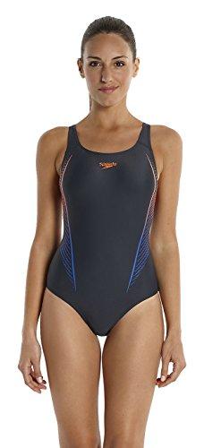 Speedo Damen Badeanzug Samba Blend Powerback mit Print, Oxid Grey/Siren/Deep Peri, 46 (Herstellergröße: 42), 8-06187A59042