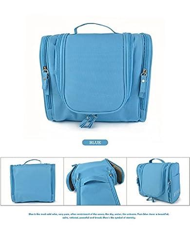 oceanwin Kit de voyage organiseur de salle de bain à suspendre Sac de rangement cosmétique pour Femme Trousse de Toilette Maquillage Étui (Bleu clair)