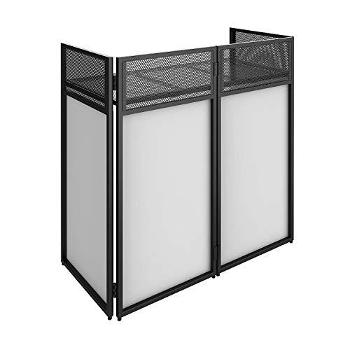 Vonyx DB4 Pro DJ Booth System DJ Stand DJ-Pult DJ-Tisch - faltbar, schwarzes Metall, inklusive weißer und schwarzer Bespannung, Material Bespannung: Lycra, Tragetasche, max. Belastbarkeit: 25 kg