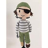 LOOP BABY - gehäkelter Pirat Peter aus Bio-Baumwolle - mit Holzbein und Hakenhand - waschbar - Geschenk für Baby-Jungen - Einschulung