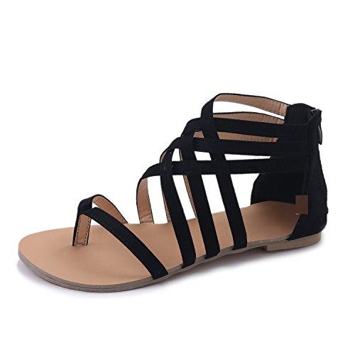 Sandali donna bassi, estate peep toe in pelle eleganti gladiatore romani comodi scarpe spiaggia casual nero 39