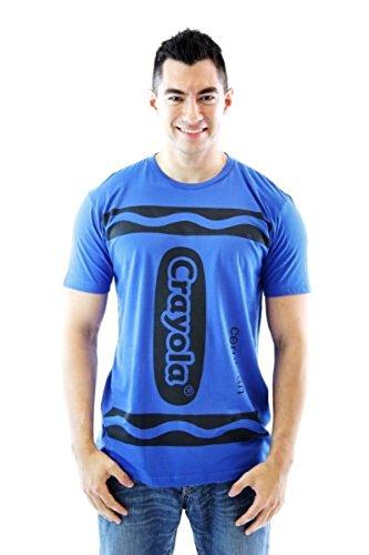 Crayola Crayon Cerulean blau Erwachsene Kostüm T-shirt (Small) (Erwachsene Blau Crayon Kostüme)