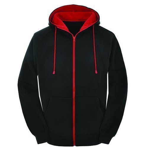 X-Large Contast black and red zip varsity zip up hoodie