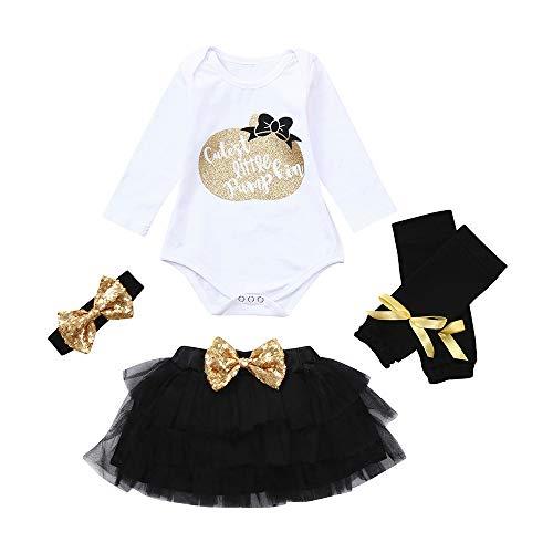 Baby Jungen Mädchen Neugeborenen Langarm Pailletten Prinzessin Strampler Overall Kleidung Tutu Kleid Gaze Rock mit Leggings und Bowknot Stirnband 4 Stück Halloween Kostüm von Innerternet