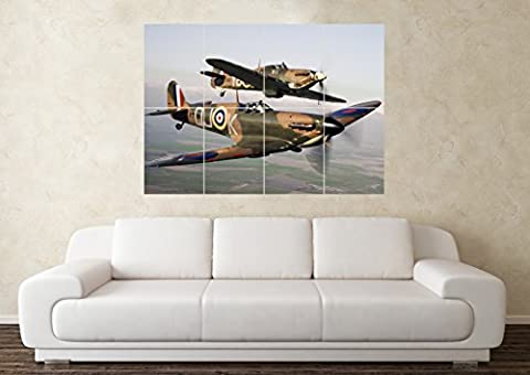 Large Spitfire RAF Fighter Plane Army Wall Poster Art Picture Print