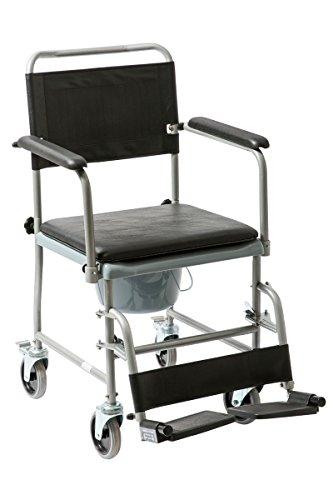 FabaCare Premium Toilettenrollstuhl, Badezimmerrollstuhl, Toilettenstuhl, Rollstuhl mit WC-Eimer, Hygienerollstuhl bis 130 kg, Silber