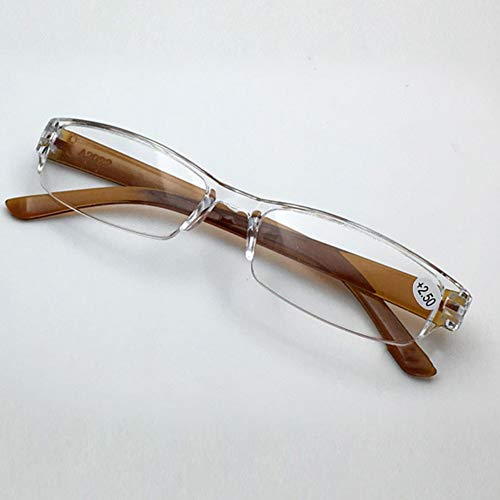 Leoie Unisex Portable Sleek Design Rimless Magnifying PC Lenses Presbyopic Glasses Spectacles Travel Trip Clear Eyeglasses Brown