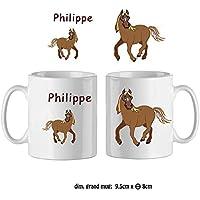 Texti-cadeaux-Mug Cheval-personnalisé avec un prénom exemple Philippe