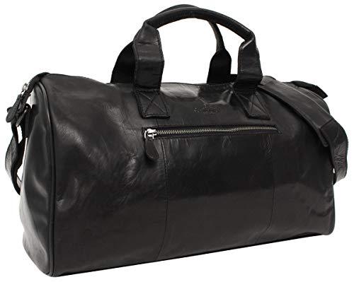 Gusti Reisetasche Leder - Hall Sporttasche Weekender Gepäck Handgepäck Carry On Tasche Schultertasche 25L Echtleder Reißverschluss Herren Damen Schwarz