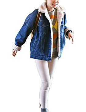 Chaquetas Vaqueras para Mujer Engrosamiento Suelto Tamaño grande Chaqueta De Mezclilla Denim Jacket Outwear