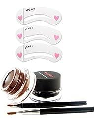3PCS Eyebrows Stencil Template Card Waterproof Gel Eyeliner Brush Kits Coffee Black Long Lasting Makeup Tool Sets